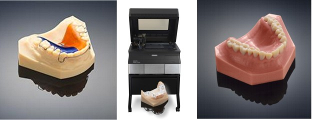 Stampante 3D Stratasys Objet30 Dental Prime con alcuni modelli stampati in 3D