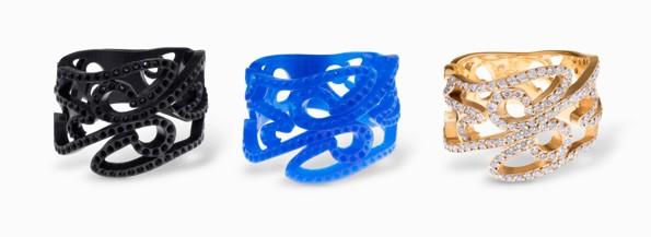 prototipo di gioiello stampato in resina su stampante 3D SLA