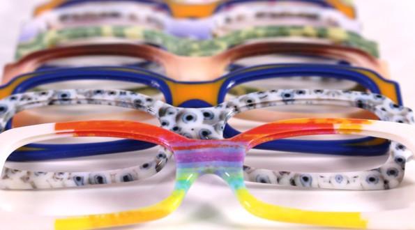 Prototipo di occhiali con stampante 3d PolyJet J750