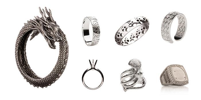 stampa 3d per metallo - gioielli